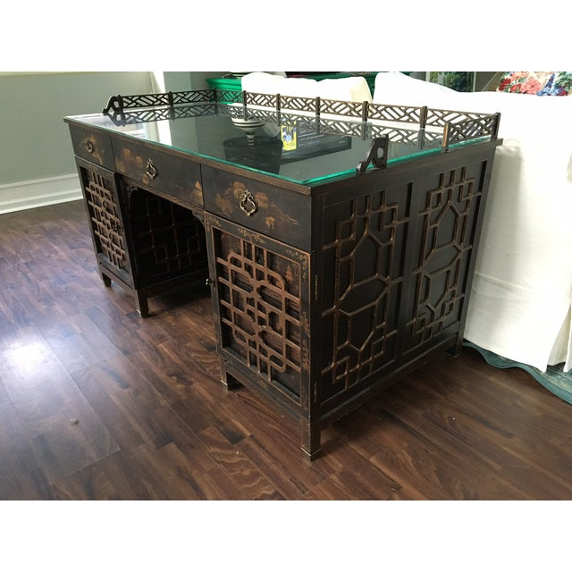 Drexel Heritage Mandalay Asian Chinoiserie Desk - Image 3 of 11