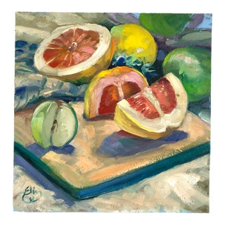 1998 Elin Pendleton Original Oil on Board Still Life With Sliced Grapefruit Signed Painting For Sale