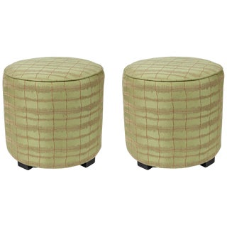 Pair of Modern Green Moroccan Poufs For Sale