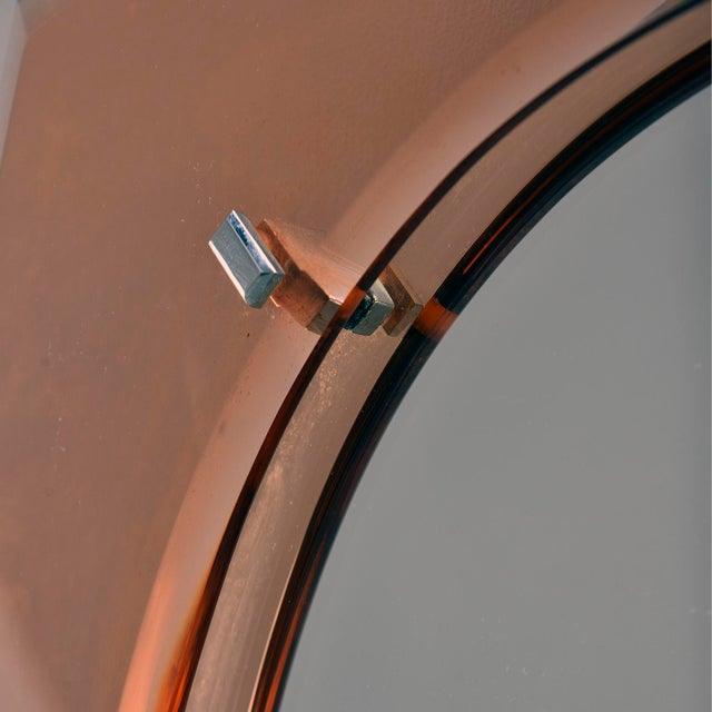 Cristal Arte Cristal Arte Oval Mirror With Pale Coral Glass Frame For Sale - Image 4 of 10