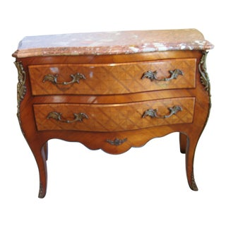 Louis XV-Style Walnut Commode With Marble Top For Sale