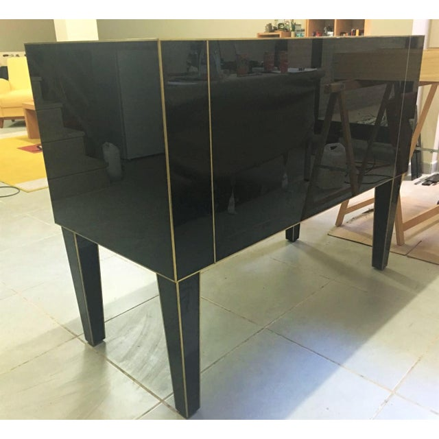 Chest of Drawers in Black Mirror With Ivory Glass Handle For Sale - Image 4 of 9