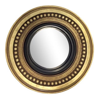 Antique Gold Framed Circular Convex Mirror For Sale