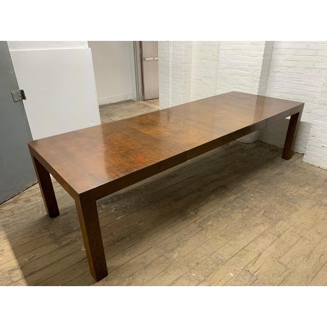 Milo Baughman Burl Wood Dining Table With Two Leaves For Sale - Image 9 of 9