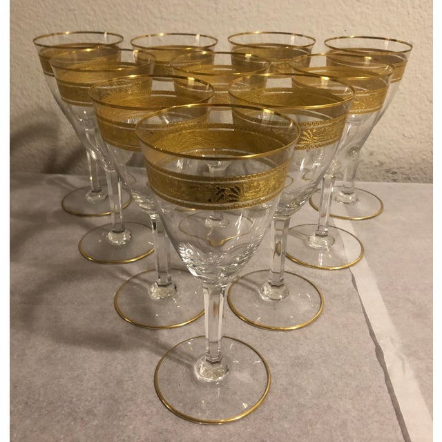 Crystal Mid 20th Century Baccarat French Gilt Crystal Directoire Style Glassware - Set of 40 For Sale - Image 7 of 13