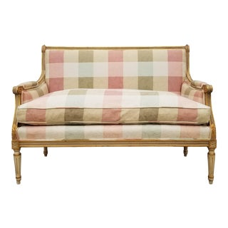 1950s Vintage Italian Louis XVI Style Carved Wood Gold Painted Settee For Sale