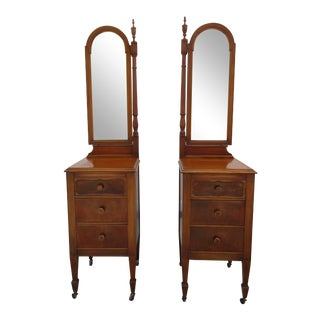 Early 20th Century Sligh Furniture 3 Drawer Nightstands With Hinged Mirrors - a Pair For Sale