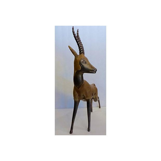 Solid Brass Antelope with Patina - Image 4 of 6