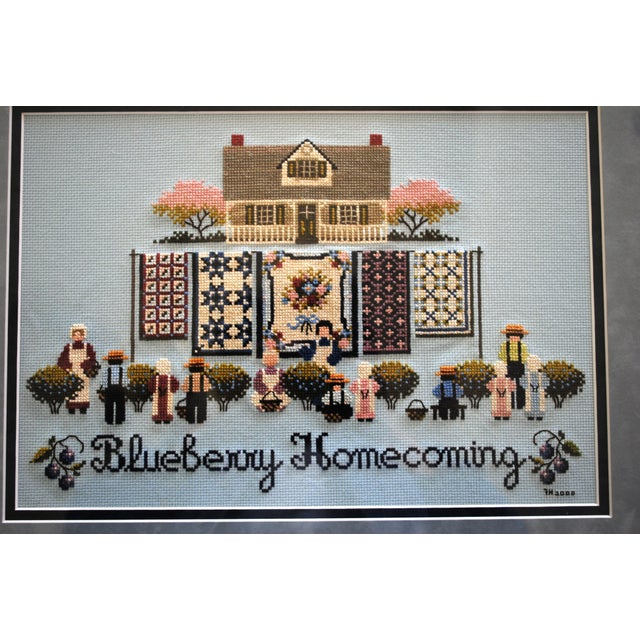 Wood Amish Style Blueberry Homecoming Cross Stitch Textile Art For Sale - Image 7 of 8