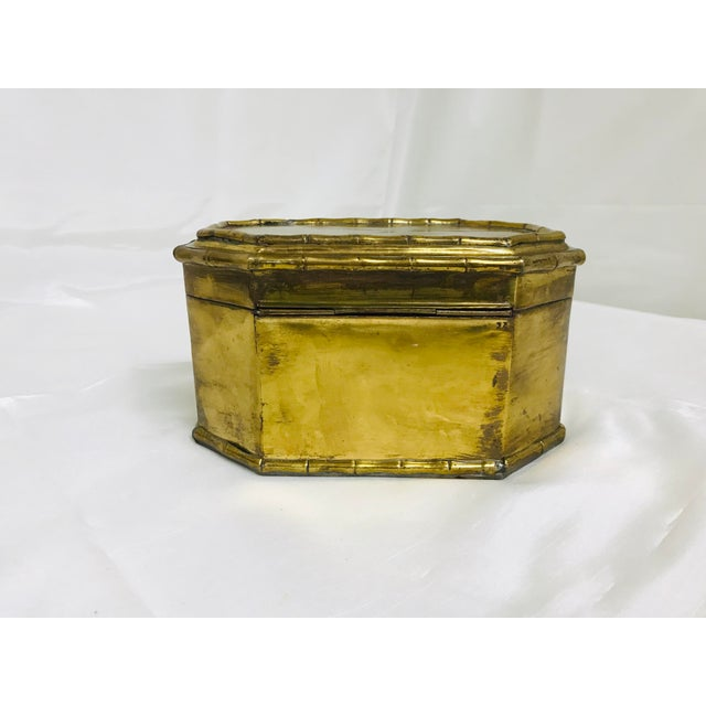 Asian 1960s Asian Faux Bamboo Decorative Brass Box For Sale - Image 3 of 8