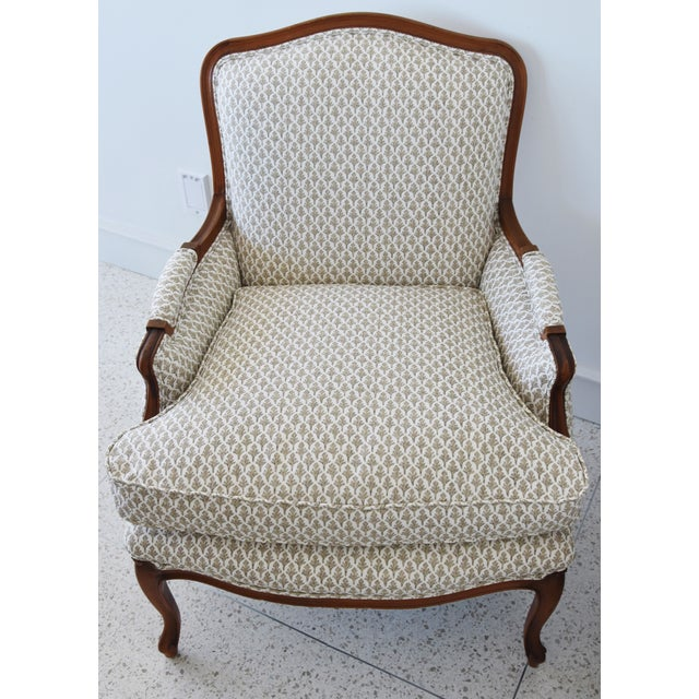 Cottage Vintage French-Style Newly Upholstered Bergere Chairs - Pair For Sale - Image 3 of 13