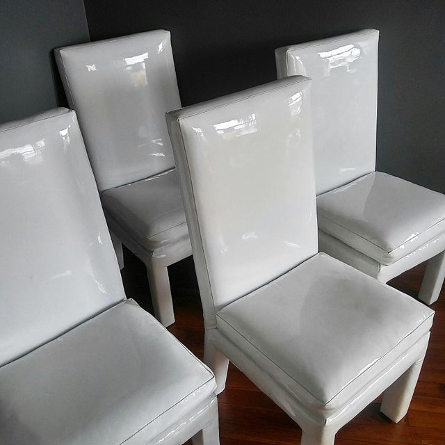 Thayer Coggin 1970s Vintage Milo Baughman Parsons Dining Chairs- Set of 4 For Sale - Image 4 of 11