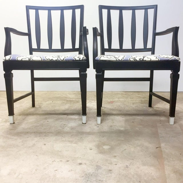 Vintage Black and Lavender Chairs - A Pair - Image 7 of 8
