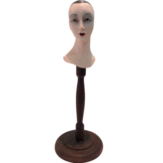 Plaster Mime Bust on Stand - Image 1 of 6