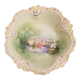Antique RS Prussia Water Lily Bowl For Sale