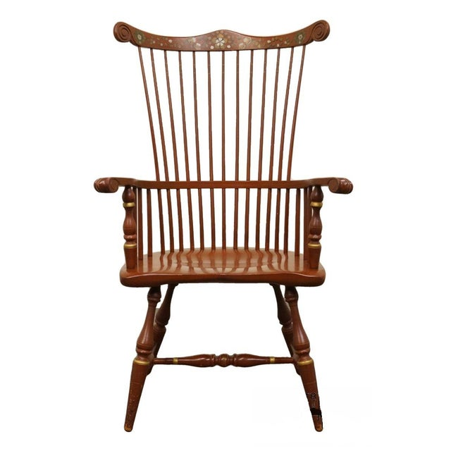 20th Century Traditional Ethan Allen Hitchcock Stenciled High Back Windsor Accent Chair For Sale - Image 13 of 13