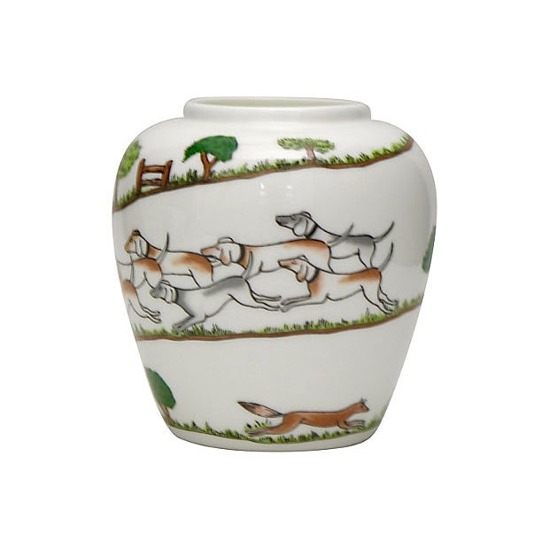 Cabin Crown Staffordshire English Hunting Scene Vase For Sale - Image 3 of 5