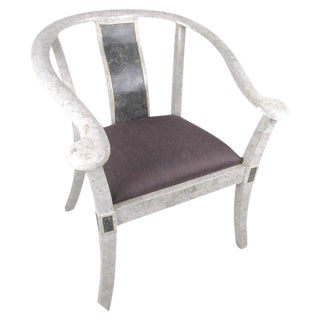 Maitland-Smith Style Tessellated Marble Armchair For Sale