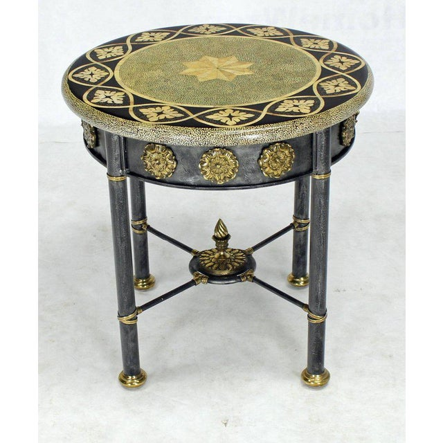 Maitland - Smith Round Faux Egg Shell Decorated Bronze Ormolu Decorated Round Gueridon Table For Sale - Image 4 of 9
