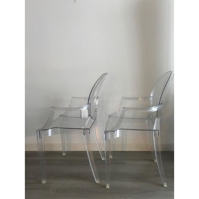 Louis XVI Modern Philippe Starck for Kartell Louis Ghost Armchairs - a Pair For Sale - Image 3 of 5