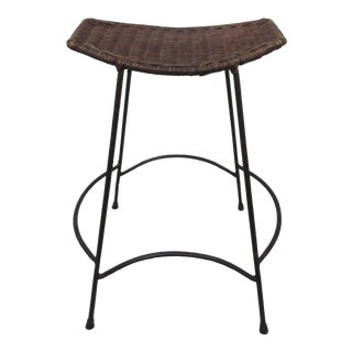 Arthur Umanoff Wicker or Rattan and Wrought Iron Stool For Sale
