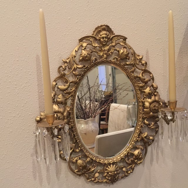 Antique Gold Mirror With Crystal Candles - Image 2 of 10