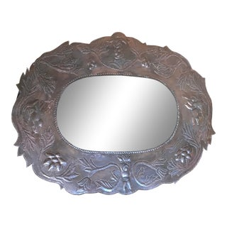 Mexican Pierced Tin Mirror With Angels For Sale