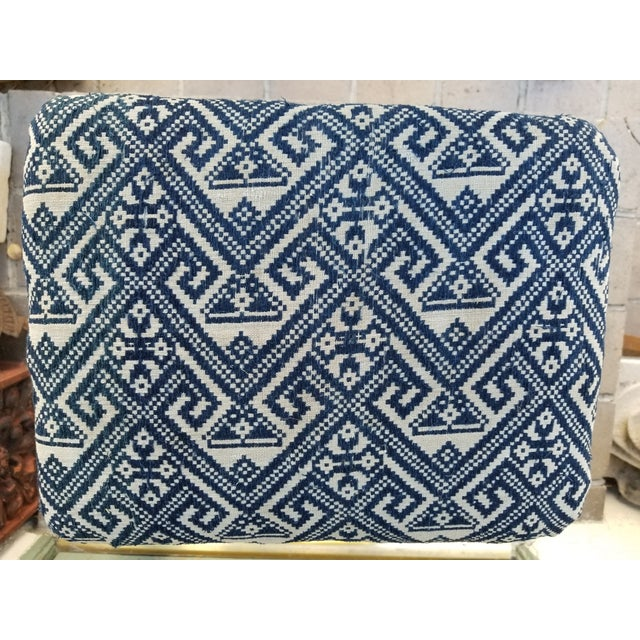 Boho Chic Antique 1930s Hand Embroidered Tribal Footstool For Sale - Image 3 of 9