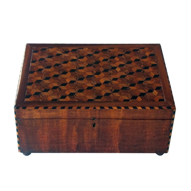 A Handsome and Warmly-Patinated English William IV Mahogany Dressing Box With Tumbling Block Inlay For Sale