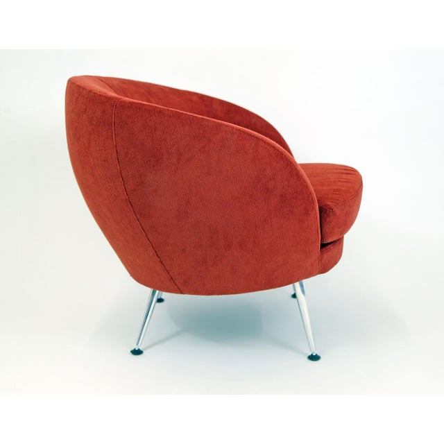 Brazilian Modern Mannes Curved Back Red Club Chair - Image 4 of 11