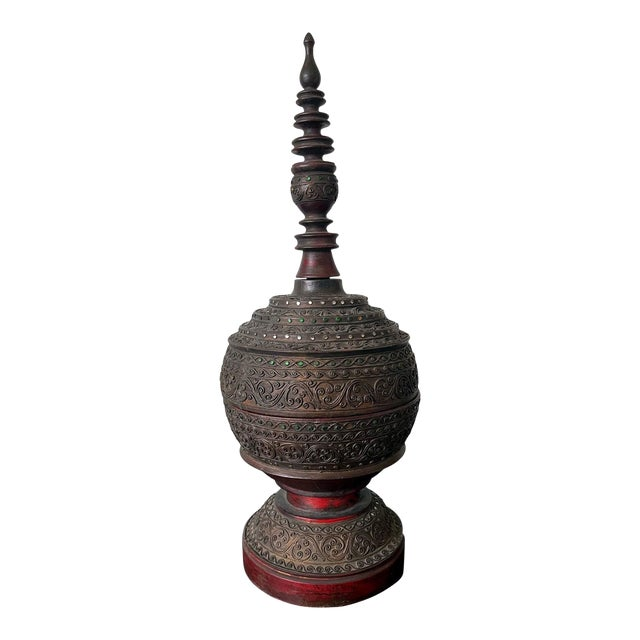 Antique Lacquered Wood Offering Vessel, Thailand For Sale