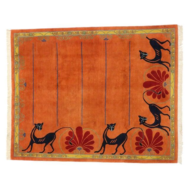 Vintage Tibetan Orange with Black Cats Rug - 8′3″ × 10′2″ For Sale