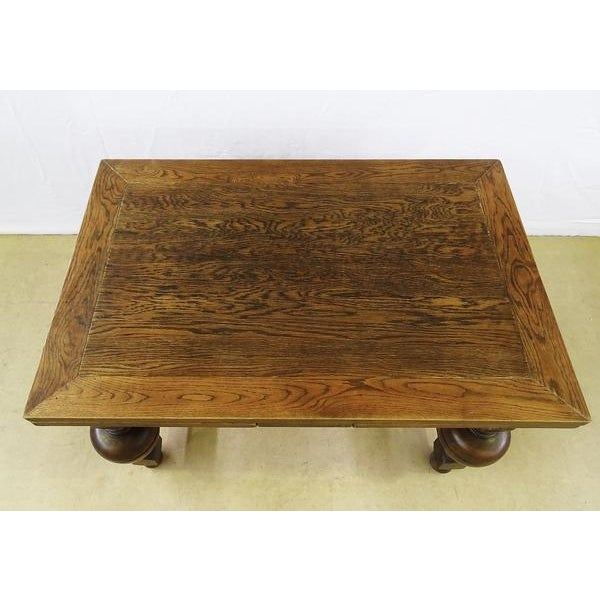 Oak Extending Antique French Solid Oak Jacobean Style Dining Table For Sale - Image 7 of 13