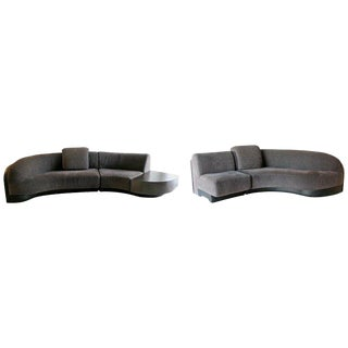 1980s Vintage Contemporary Modern Vladimir Kagan Preview Curved Sectional Sofas- a Pair For Sale