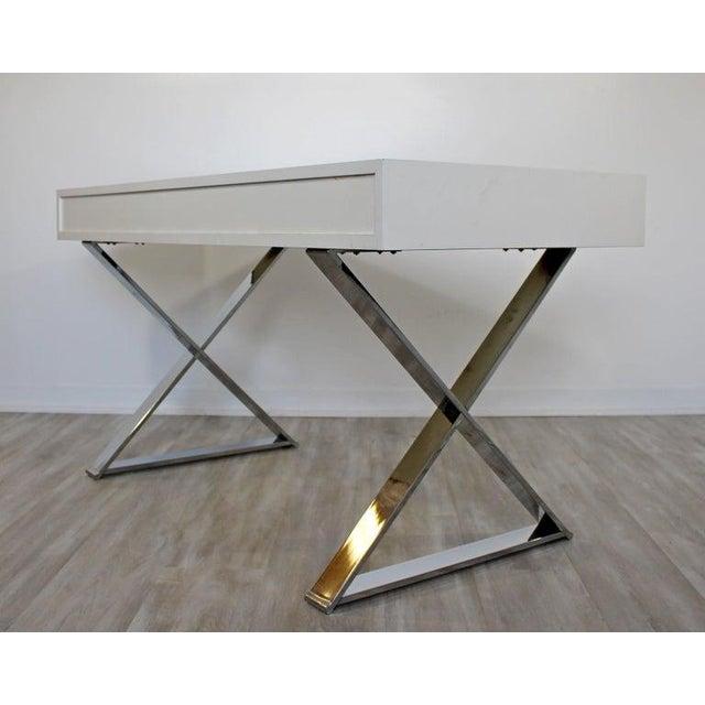 1960s Milo Baughman Mid-Century Modern Campaign White Lacquer Chrome X Base Desk For Sale - Image 11 of 12
