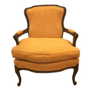Final Markdown - French Louis XV Style Fruitwood Fauteuil Bergere Chair For Sale