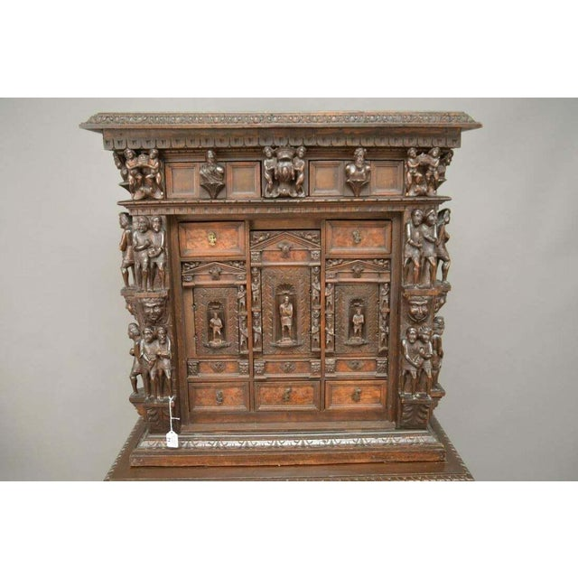 "Traditional Antique Heavily Carved Continental Court Two Piece 65"" Cabinet/Cupboard For Sale - Image 3 of 13"