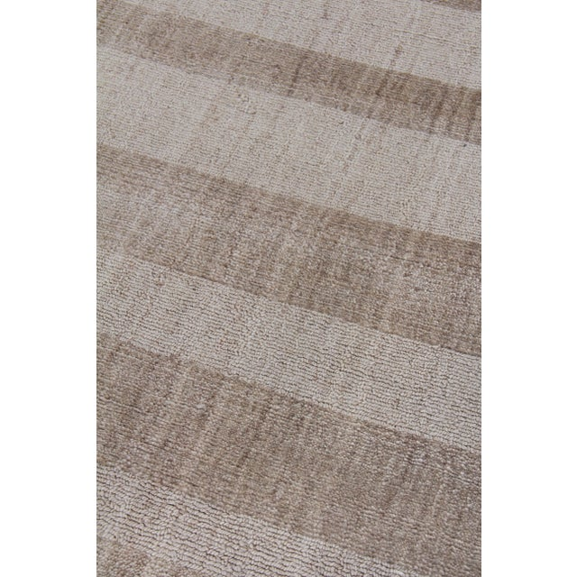 """Transitional Iscar Hand loom Wool/Viscose Mineral Rug-6'x9"""" For Sale - Image 3 of 8"""