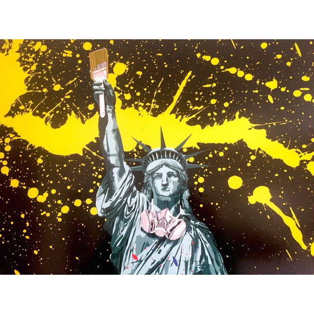 "Paper Mr. Brainwash "" Statue of Liberty "" Authentic Lithograph Print Pop Art Poster For Sale - Image 7 of 12"