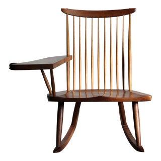 Mira Nakashima 2005 Maple Burl Slab Arm Rocking Chair For Sale