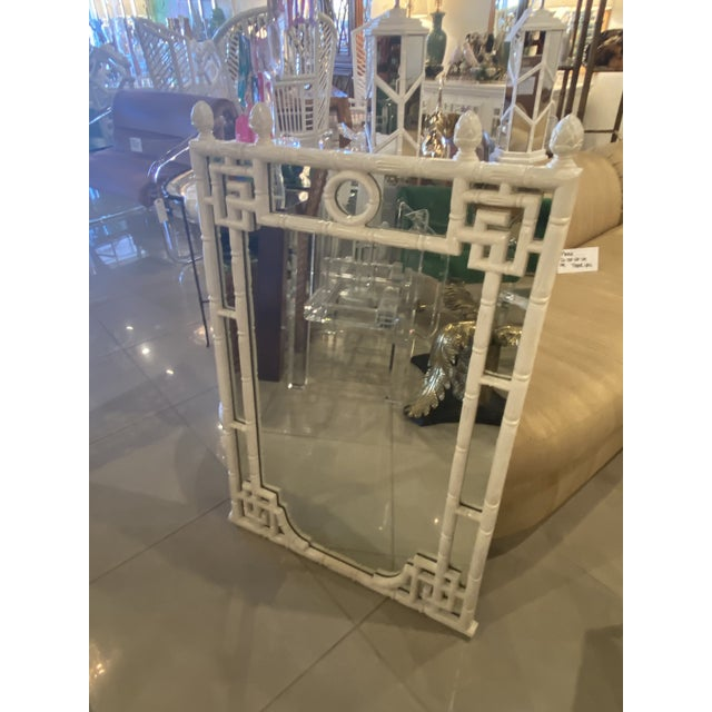 Vintage Chinese Chippendale White Faux Bamboo Greek Key Wall Mirror For Sale In West Palm - Image 6 of 12