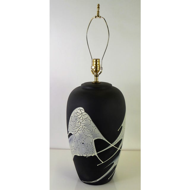 1960s Black N White Lava Glaze Pottery Table Lamp For Sale - Image 4 of 12