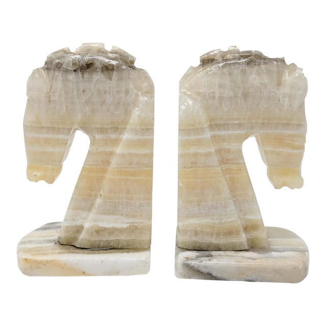 Art Deco Alabaster Horse Bookends - a Pair For Sale