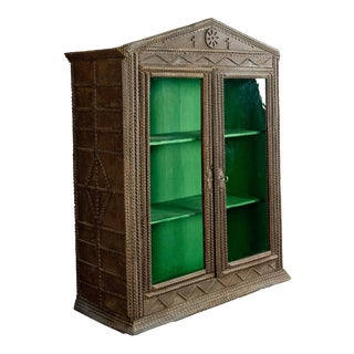 Antique Tramp Art Cabinet Ca. 1900 For Sale