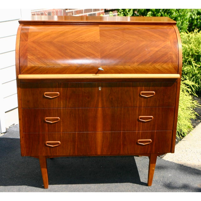 20th Century Danish Modern Rosewood Cylinder Desk For Sale - Image 13 of 13