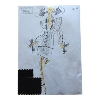 Givenchy Suit Croquis Fashion Sketch For Sale