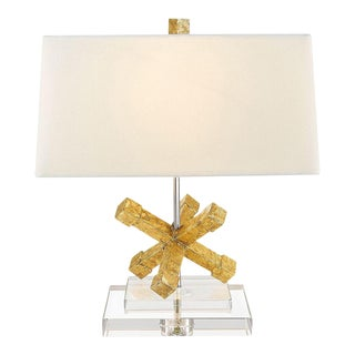 Contemporary Jackson Square Gold Steel Table Lamp