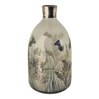 Antique Sterling Silver Overlay on Glass Vase For Sale