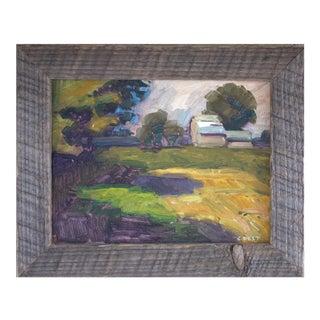 Christopher Best Impressionistic Pastoral Landscape Barn Wood Framed Painting For Sale