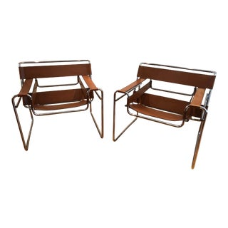 Mid-Century Modern Knoll International Breuer Wassily Leather and Chrome Club Chairs - a Pair